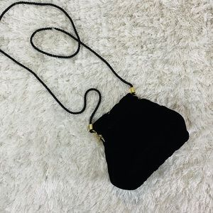 Black Velvet Evening Bag Gold Kiss Clasp Formal